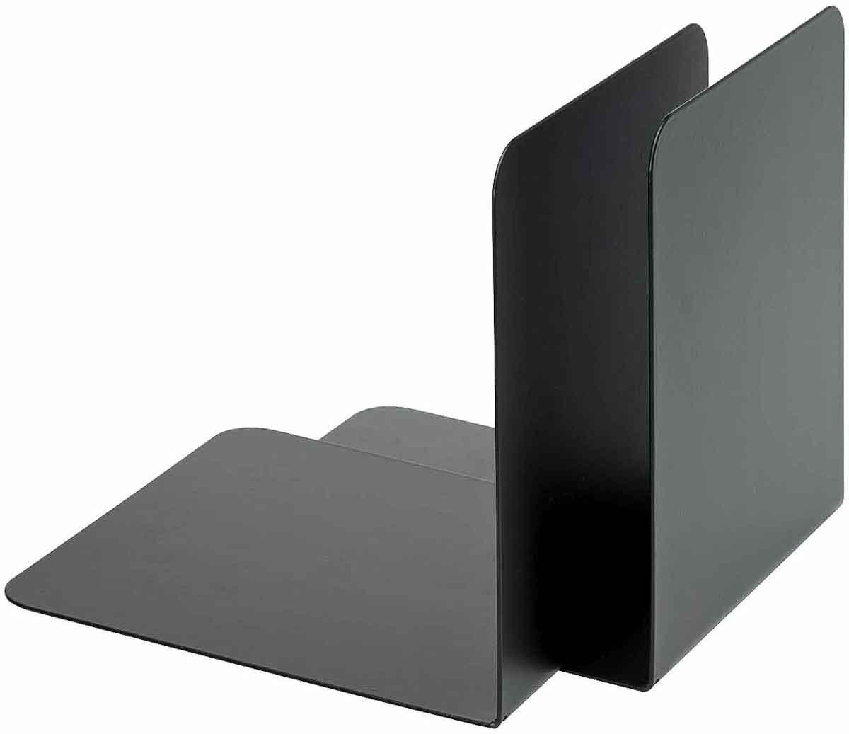Buch-Stützen aus Metall. Simpel, nicht wirklich schön, aber stabil und günstig