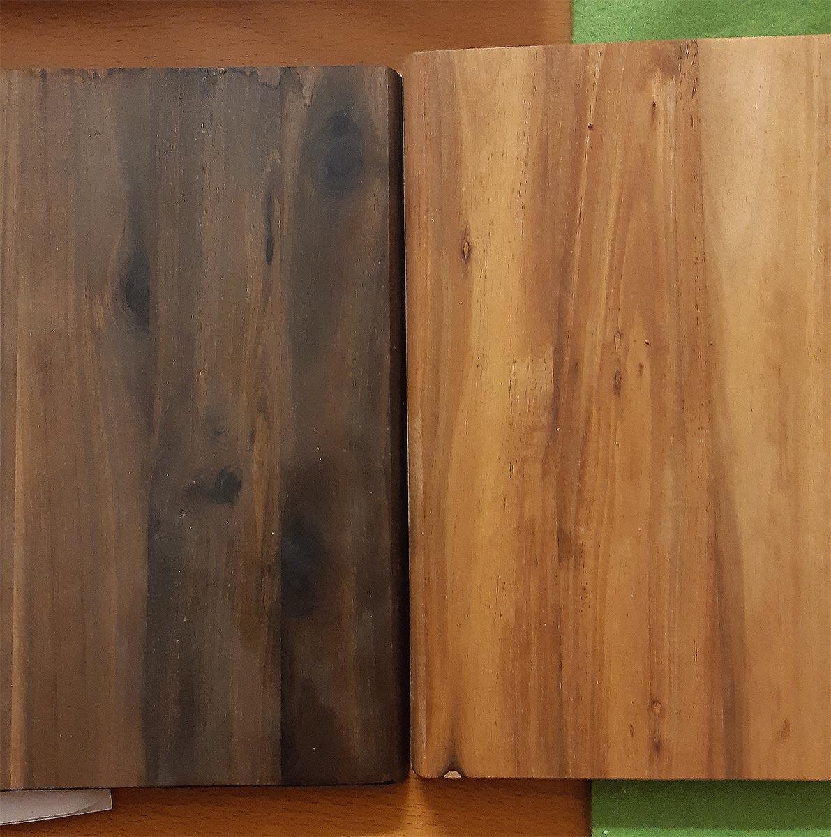 Beiztest, Akazienholz; schwarzer Tee, Essigessenz, Stahlwolle