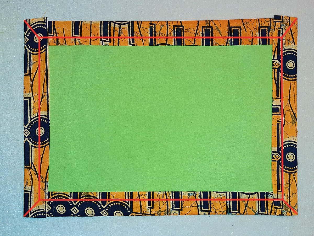 Tischset aus Kitengestoff, Darstellung der Nähte