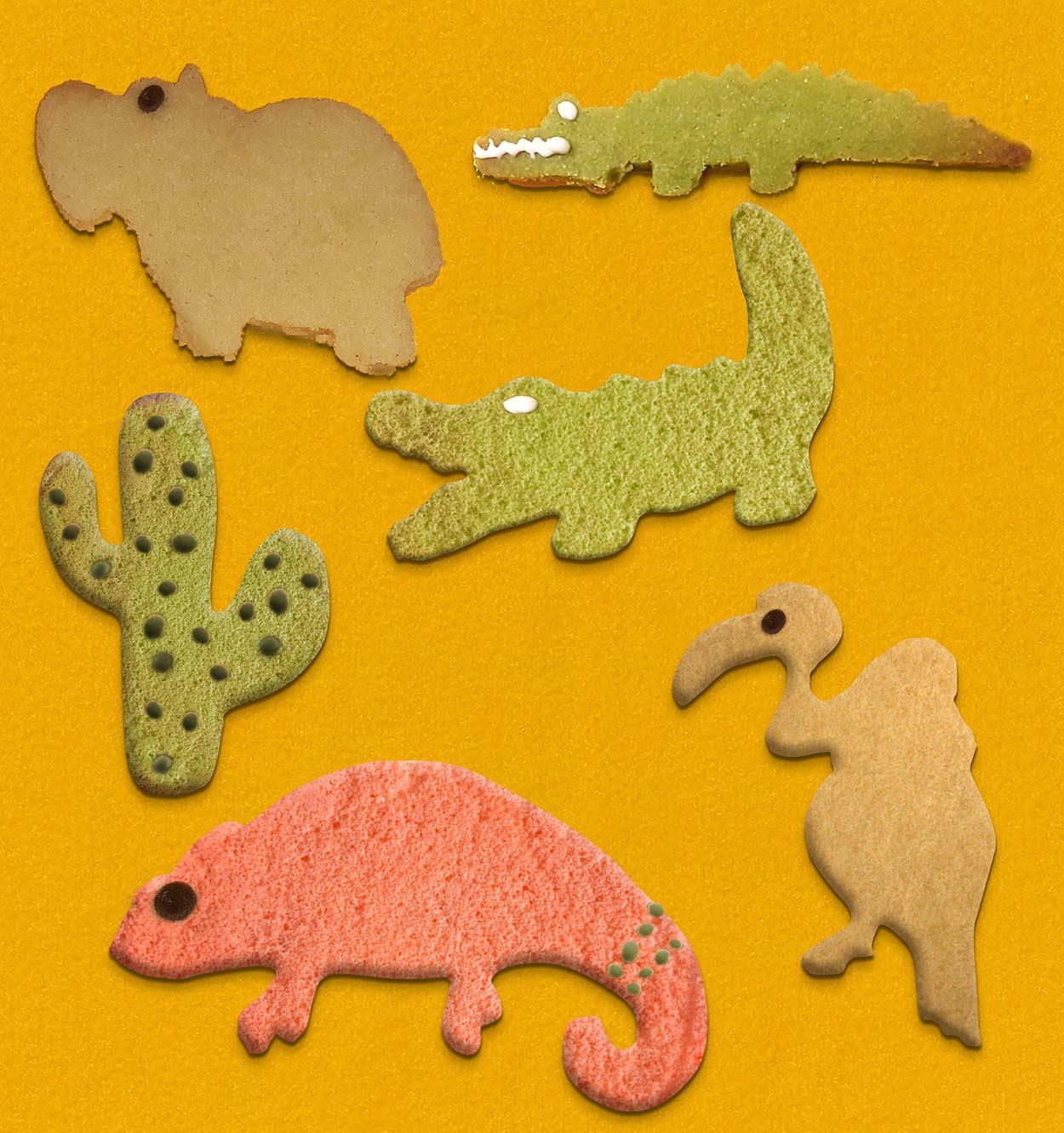 Kekse, afrikanisch, African cookies, Ausstecher Tierform. Chamäleon, Geier, Euphorbia, Krokodil, Hippo