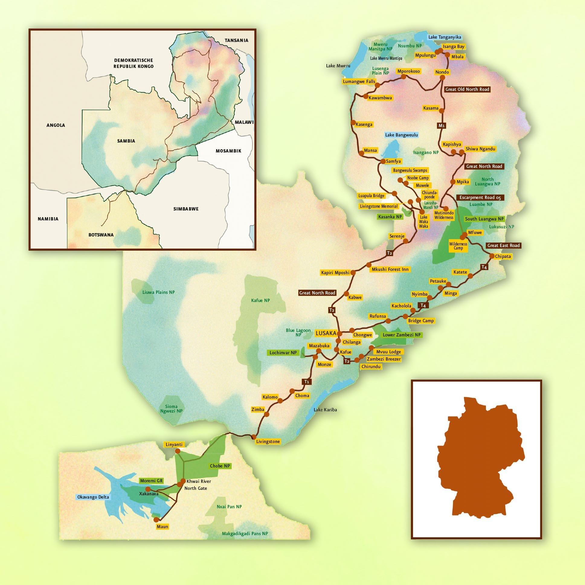 Reisebericht Reiseroute Botswana-Sambia 2008
