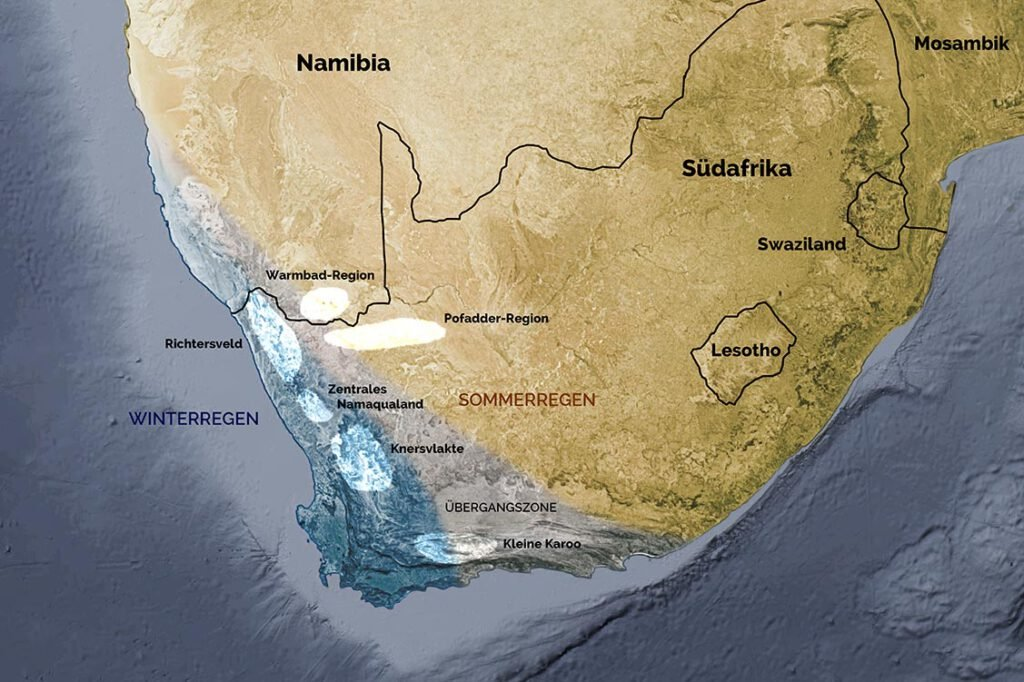 Quarzflächen des südlichen Afrika und ihre Lage